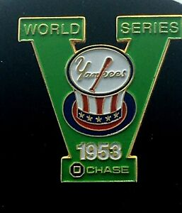YANKEES & CHASE BANK 1953 WORLD SERIES COLLECTORS PIN -Colorful and impressive!