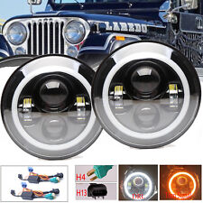 For Jeep Liberty Patriot CJ5/7 LED Halo Angel Eyes Headlight H4-H13 H6024 Lamps