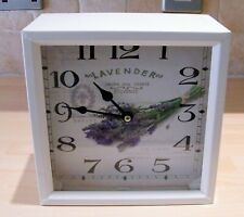 White Metal Lavender Design Quartz Clock Freestanding or Wall Mounted