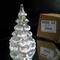 "Fenton CHRISTMAS TREE FIGURINE 6.5"" White Iridescent Glass Gold Bird Snow Frost"