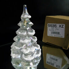 "Fenton CHRISTMAS TREE FIGURINE 6.5"" White Iridescent Glass Gold Bird Snow Frost"