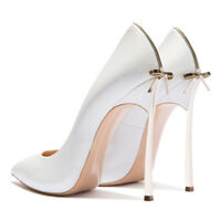 Damen Weiß High Heels Damenschuhe pumps Spitze Zehe Hochzeit Braut Einfach neu