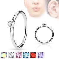 Pair CZ Set Ear Piercing Tragus Rook Snug Helix Daith Nose Hoop Rings 20G