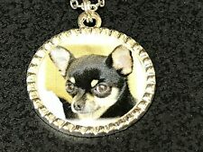 """Dog Chihuahua Black & Brown Charm Tibetan Silver with 18"""" Necklace A1 BIN"""