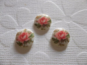 Vintage Cameos - Pink Rose on White Glass 10mm Cabochons - 6 pieces