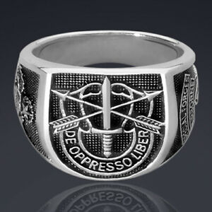 Special Forces Ring Airborne de oppresso liber Silver 925 Sterling Green Beret