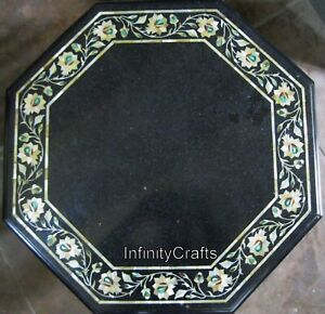 15 x 15 Inch Marble Bed Side Table Antique Work with Gemstones Coffee Table Top