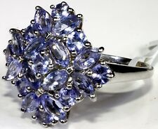 Tanzanite Ring in Platinum Overlay Sterling Silver (Size 7) TGW 4.25 Cts