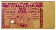 ☆ SPAIN CIVIL WAR 1937 • ALBACETE 25 CTS MUNICIPAL ☆ GUERRA CIVIL ESPAÑOLA☆C5027