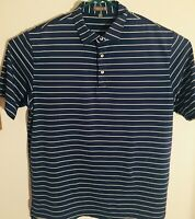 Peter Millar Men's Summer Comfort Blue/White Striped Polo Golf Shirt Size XLarge