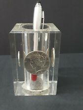 Vintage Uncirculated U.S. Silver & Other Coins In Lucite Pen Holder. No-.