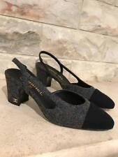 NIB Chanel 16A Grey Black Tweed CC Coco Sling Back Ankle Strap Heel Pump 38.5