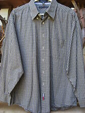 Tommy Hilfiger Shirt Mens 17 34-35 Holiday Tartans Blue Green Plaid Long Sleeves
