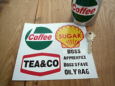 Workshop COFFEE TEA & SUGAR Label Sticker Set with Mug Labels Canister Raceshop