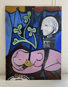 ORIGINAL Pablo Picasso-inspired Lying Female Nude with Leaves Pink, Blue, Green
