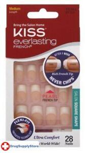BL Kiss Everlasting French Nail Kit Medium Pearl Tip 28 Nails - THREE PACK