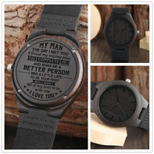 Engraved Real Wood Watches Personalized Watch Men's Gift Leather Strap Quartz