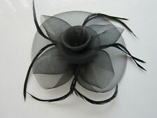 BLACK Fascinator | Sinamay | Net | Feathers | Wedding Prom Races (70A)