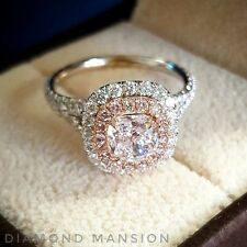 1.70ctw Cushion Cut Double Halo Split Shank w/ Pink Diamonds Engagement Ring GIA