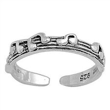 Music Notes Toe Ring Sterling Silver