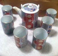 Vintage Tea Pot and 6 tea cups Set Arita by Imari Fan NIB 1982