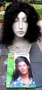 Wild & Crazy Long Black Curly Costume Mullet Wig: Howard Stern, 80s Rockers, etc