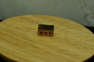 10K YELLOW GOLD PARKER SERVICE AWARD LAPEL PIN TIE TACK WITH PINK RUBIES #D2891