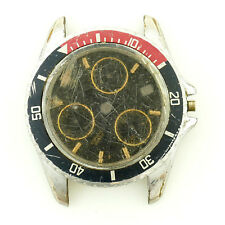 HEUER 1000 DIVER BLACK DIAL CHRONO STAINLESS STEEL WATCH HEAD FOR PARTS/REPAIRS