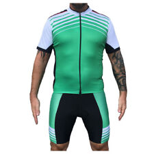 Mens Cycle Jersey & Shorts Set Striped Stripey Green White Black Cycling Kit