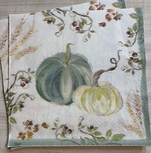 "TWO Individual Paper 6.5"" Decoupage Napkins Autumn Fall Green Pumpkins"