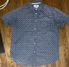 Cactus Menswear Slim Fit Medium M Floral Flower Shirt Blue / White Button Up