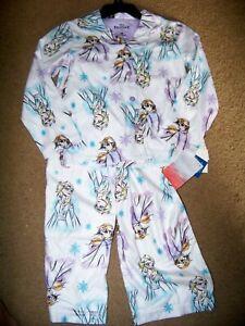 NWT Disney FROZEN Anna Elsa 2 Piece Flannel PJ Pajama Set Girl's 10 ~ White