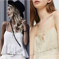 SALE White Embroidered Lace Cami Strappy Top Size M UK 10 US 6  Blogger ❤