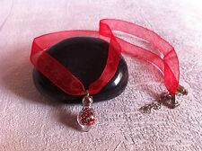 Collier fiole perles rouges ruban organza