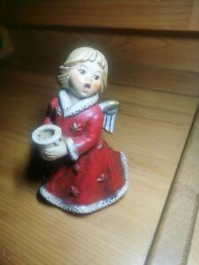 Goebel Weihnacht Engel Leuchter Kerzenhalter weinrot