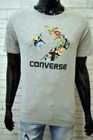 Maglia Grigia Uomo CONVERSE Taglia M Maglietta Manica Corta Shirt Man Herrenhemd