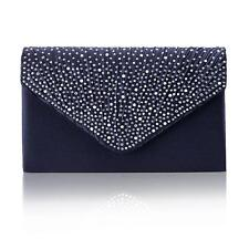 Women Satin Diamante Clutch Bag Ladies Evening Wedding Party Purse Prom Handbag