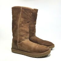 UGG Australia Tall Sheepskin Shearling Lined Brown Leather Boots - Womens Size 8