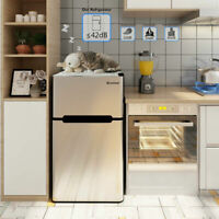 Stainless Steel Refrigerator Small Freezer Cooler Fridge Gray 3.2 cu ft. Unit