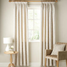 John Lewis Cotton/Linen Leaf Trail Pair Lined Pencil Pleat Curtains, Stone