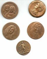 4 Médailles caisses des dépôts office notarial + 1 medaille concours agricole