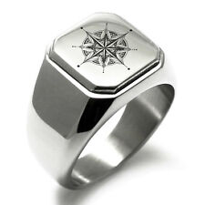 Stainless Steel Nautical Lotus Compass Mens Square Biker Style Signet Ring