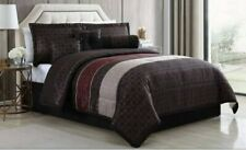 Mainstays 7 Piece Medici Geometric Stripe Brown Comforter Set, Full/Queen, New