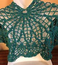 Hand crochet GODDESS LACY TEAL BLUE KNIT scarf PRAYER shawl Wrap NEW-USA MADE