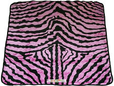 79x94 Queen Ultra Soft Smooth Faux Mink Zebra Skin Fur Plush Throw Blanket Pink