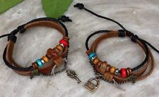 New two couple leather bracelet WOOD BEAD for him and for her free shipping
