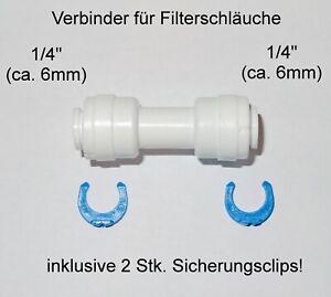 """Verbinder Kupplung 1/4"""" Umkehr Osmose Schlauch Wasser Filter Kühlschrank Fitting"""