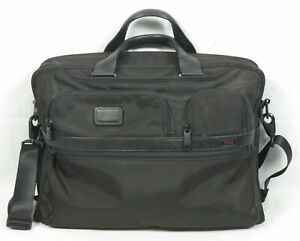 Tumi Alpha 2 Large Laptop Bag Black Ballistic Nylon Removable Adjustable Strap