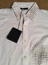 BERTOLO MENS COTTON SHIRT L/S SZ M WHITE TAN DESIGN BUTTON FRONT NWT $ 225