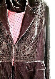 WRAP London (Poetry) Beautiful embroidered Silk Velvet Jacket 14 Mink Brown